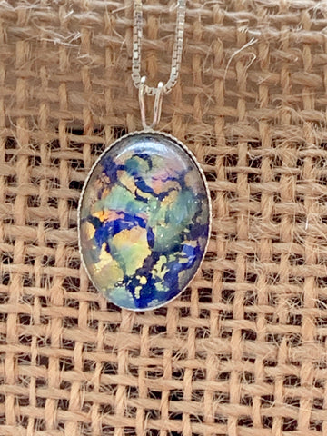 Blue Glass Opal on 18 Inch Sterling Silver chain - pixi-daisy