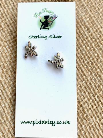 Dragonfly White Opal Sterling Silver Stud Earrings - pixi-daisy