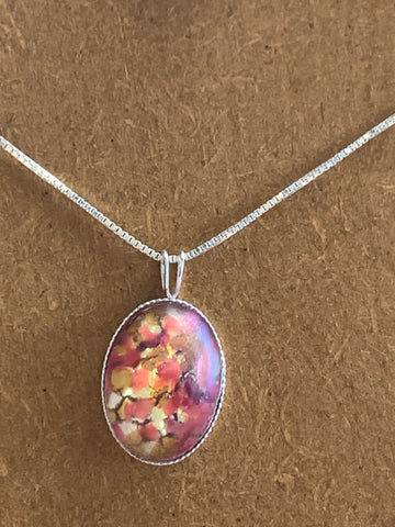 Rose Glass Opal Pendant with 18 inch Sterling Silver box chain