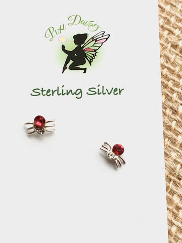 Red Spider Sterling Silver Stud Earrings
