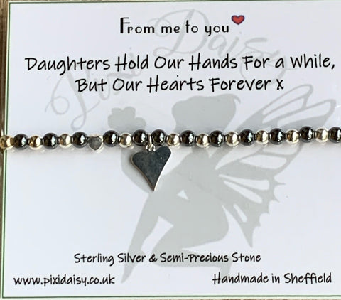 Daughters Hold Our Hearts Stretch Sentiment Bracelet - pixi-daisy