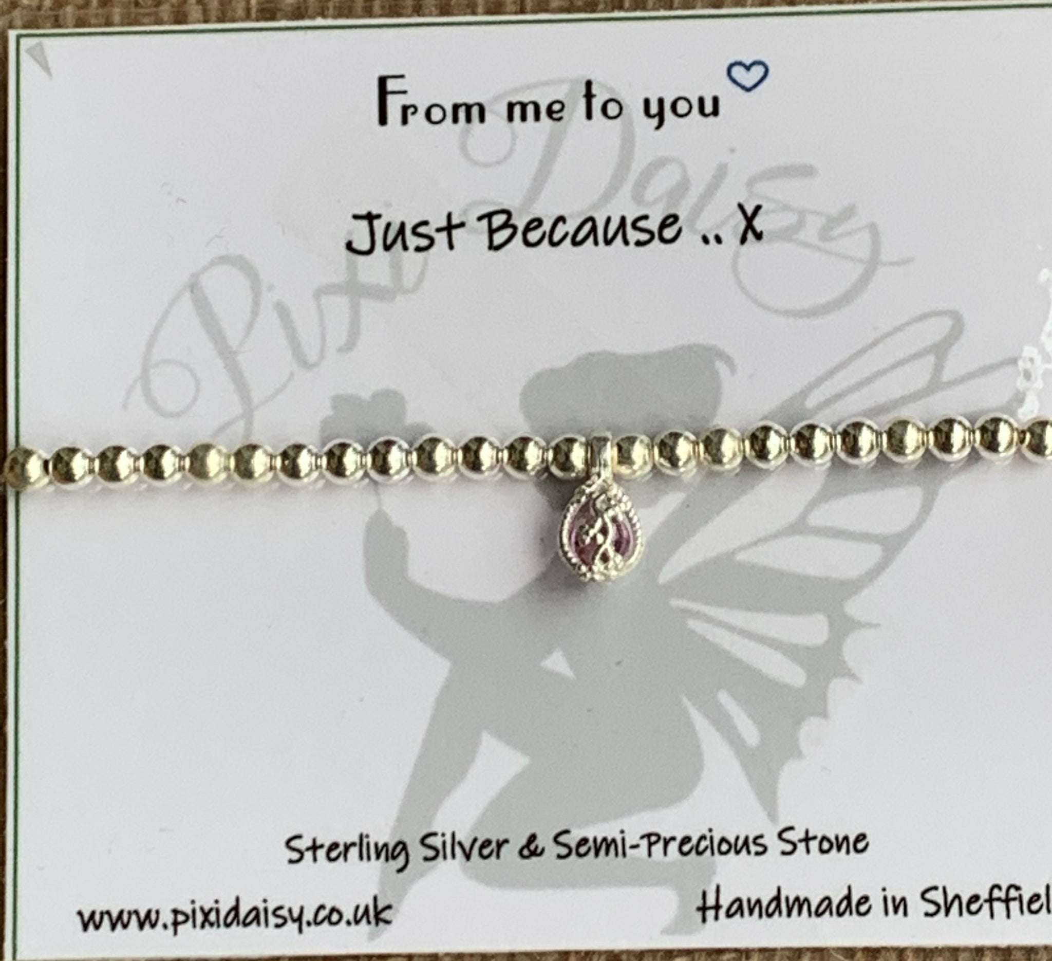Just Because ....... Sterling Silver Stretch Sentiment Bracelet - pixi-daisy