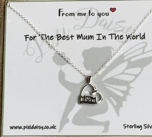 Best Mum in the World Sterling Silver Sentiment Necklace - pixi-daisy