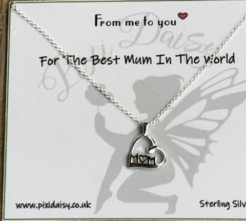 Best Mum in the World Sterling Silver Sentiment Necklace
