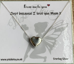 Love You Mum Sterling Silver Sentiment Necklace - pixi-daisy