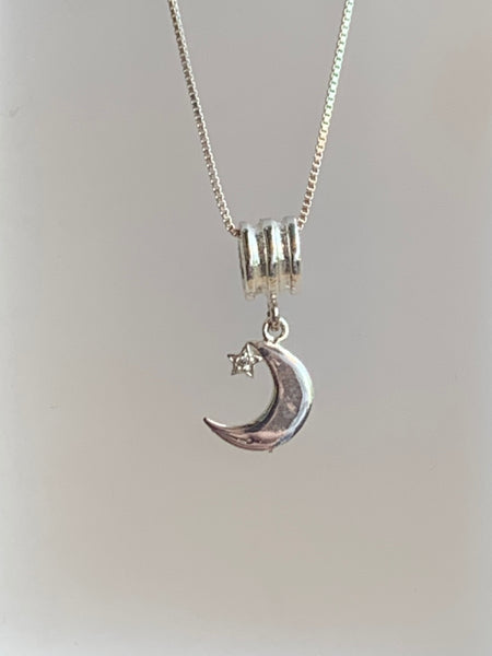 Moon & Star Pendant on Sterling Silver snake Chain - pixi-daisy