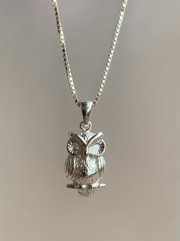 Owl Pendant on 18 inch Sterling Silver box Chain