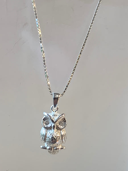 Owl Pendant on 18 inch Sterling Silver box Chain - pixi-daisy