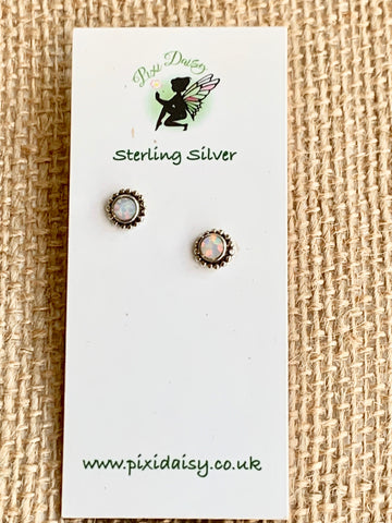 White Created Opal Sterling Silver Stud Earrings - pixi-daisy