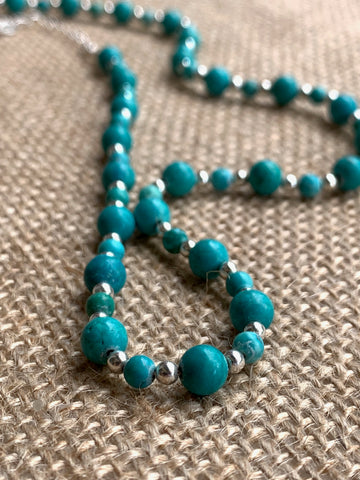 Handmade Turquoise and Silver Bead Semi Precious Necklace - pixi-daisy