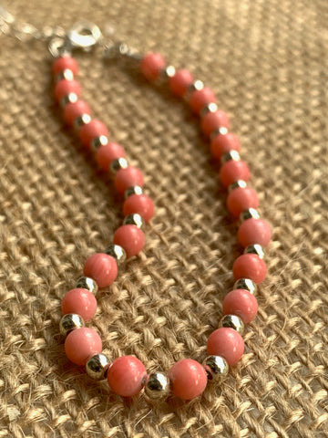 Coral Semi Precious Bracelet on Sterling Silver Bead Chain