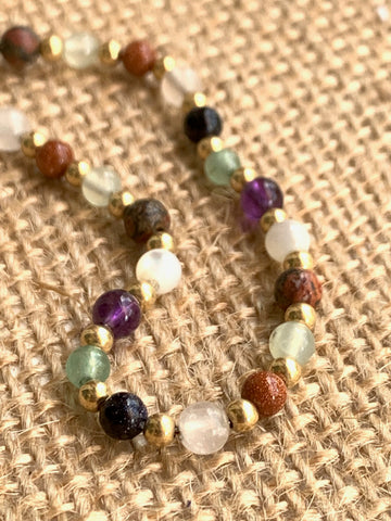 Mixed semi precious stones and Gold Filled Bead Bracelet