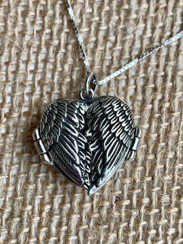Angel Wing Sterling Silver Locket & Sterling Silver Chain