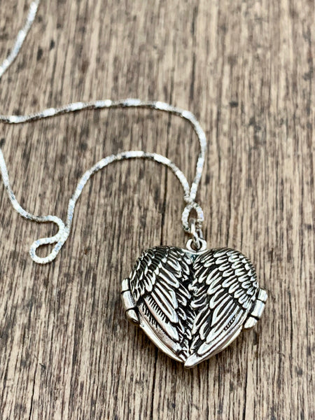Angel Wing Sterling Silver Locket & Sterling Silver Chain - pixi-daisy