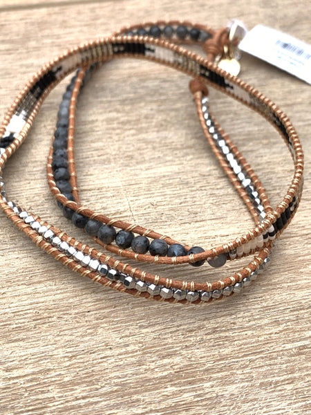BoHo Betty Leather 3 Wrap 'Natalie Cole' Bracelet - pixi-daisy