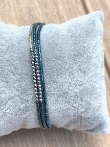 BoHo Betty 3 Strand, Vortex (Teal/Hematite) Blue Tassel Friendship Bracelet - pixi-daisy