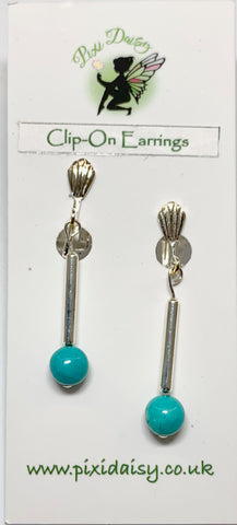 Handmade Turquoise Clip On Earrings - pixi-daisy