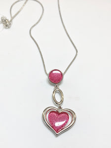 Miss Milly Pink Circle and Heart Pendant Necklace - pixi-daisy