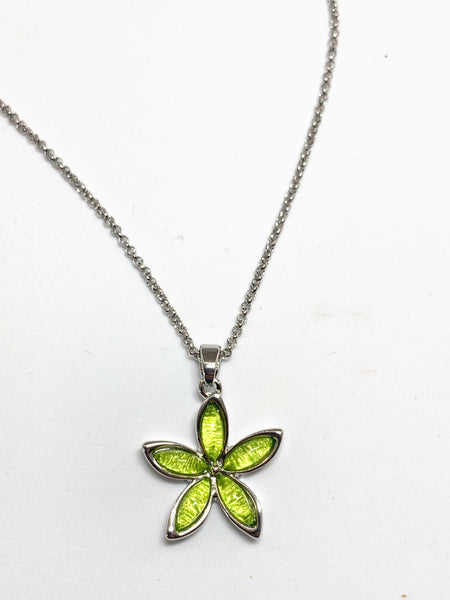 Miss Milly Lime Green Flower Necklace - pixi-daisy