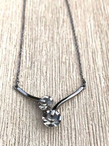 Miss Milly Grey Duo Crystal Necklace - pixi-daisy