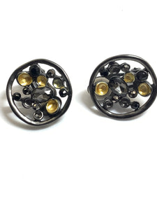 Gold & Grey Disc Clip On Earrings - pixi-daisy