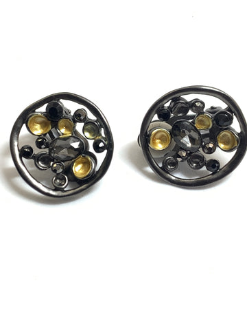 Gold & Grey Disc Clip On Earrings