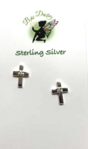 Cross with Crystal - Sterling Silver Ear Studs - pixi-daisy