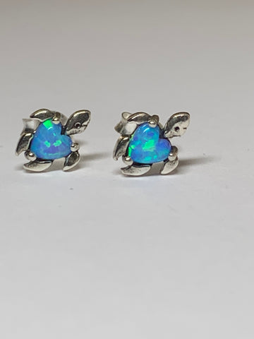 Turtle - 925 Sterling Silver Semi Precious and Opal Ear Studs - pixi-daisy