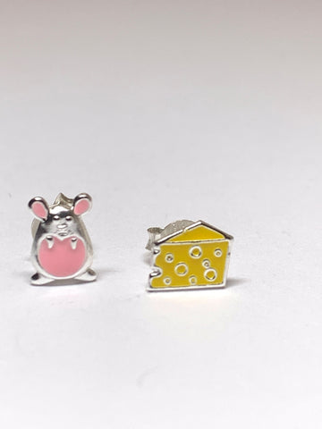 Mouse & Cheese Sterling Silver Ear Studs - pixi-daisy