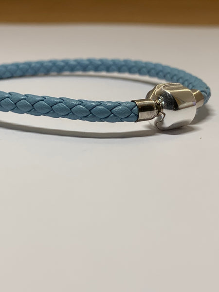 Light Blue Leather Cord Bracelet - pixi-daisy