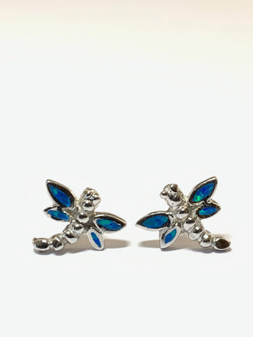 Dragonfly Blue Opal Sterling Silver Stud Earrings - pixi-daisy