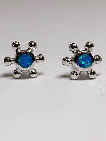 Blue Opal Ship's Wheel Sterling Silver Ear Studs - pixi-daisy