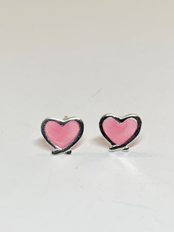 Pink Heart Sterling Silver Stud Earrings - pixi-daisy