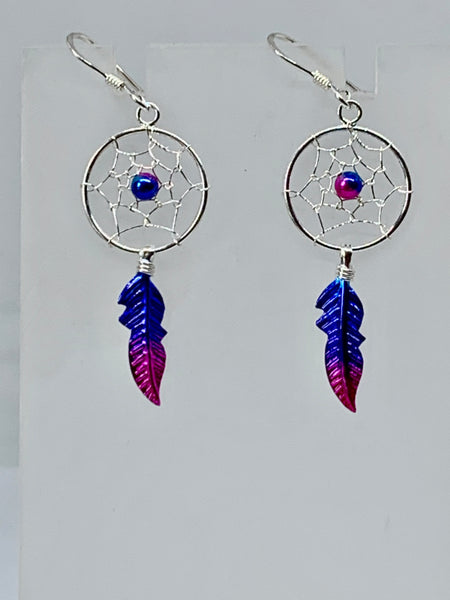 Purple & Magenta Dreamcatcher Single Feather Earrings