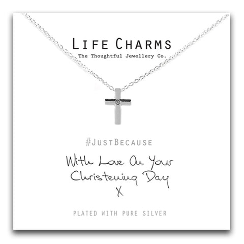 Life Charms Christening Cross Necklace - pixi-daisy