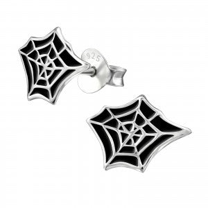 Spider Web Sterling Silver Ear Studs