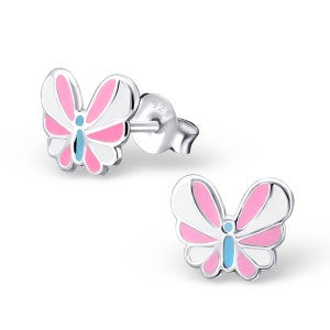 Butterfly - Coloured Sterling Silver Ear Studs - pixi-daisy