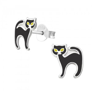 Black Cat Sterling Silver Ear Studs - pixi-daisy