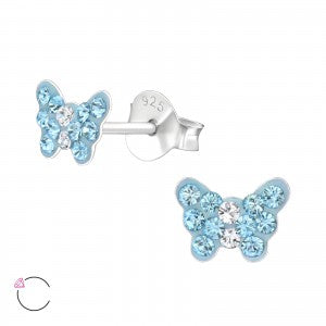 Butterfly Crystal Sterling Silver Ear Studs - pixi-daisy