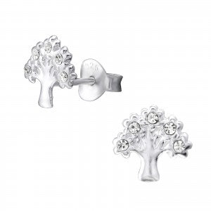 Tree With Crystals Sterling Silver Ear Studs