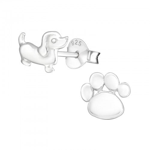 Dog & Paw Sterling Silver Ear Studs - pixi-daisy