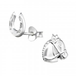Horse & Horseshoe Sterling Silver Ear Studs