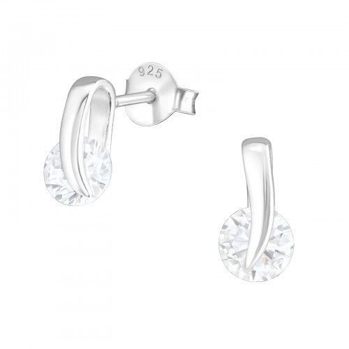 Spining Diamond - Sterling Silver Cubic Zirconia Ear Studs - pixi-daisy