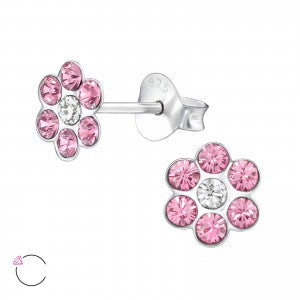 Sparkly Flower Sterling Silver Stud Earrings With Pink Crystal Stones - pixi-daisy