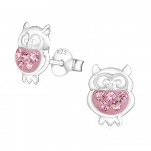 Owl - Light Rose Sterling Silver Crystal Ear Studs - pixi-daisy