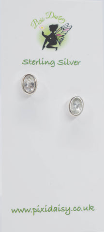Clear Tourmaline Ear Studs - Pixi Daisy