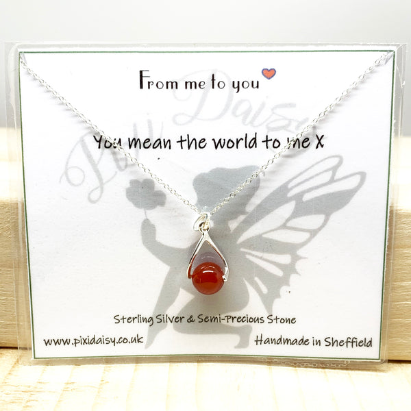 You Mean The World To Me Sentiment Necklace from Pixi Daisy