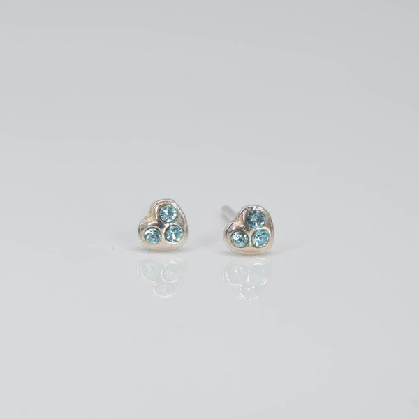 blue heart crystal ear studs - Pixi daisy