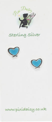 Blue heart ear studs - Pixi Daisy