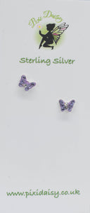 Purple Crystal Butterfly ear Studs - Pixi Daisy